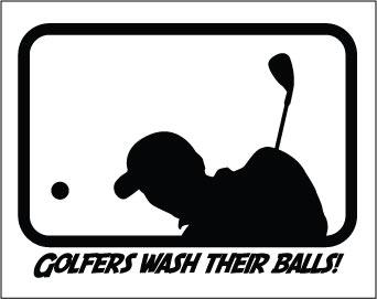 Golfer Wash Their Balls sticker.