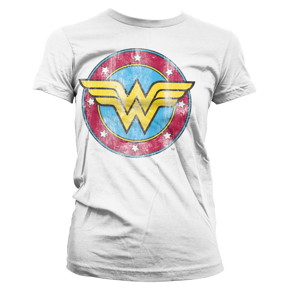 Wonder Woman Distressed Logo Girly Tee